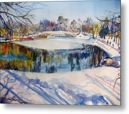 Central Park Metal Print featuring the painting Central Park In Snow by Joyce Kanyuk