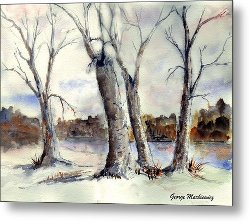 Landscape Metal Print featuring the print Dancing in Winter by George Markiewicz