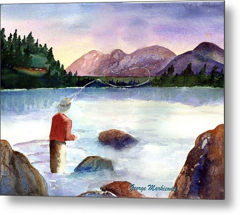 Fisherman At Lake Metal Print featuring the print Fisherman in the morning by George Markiewicz