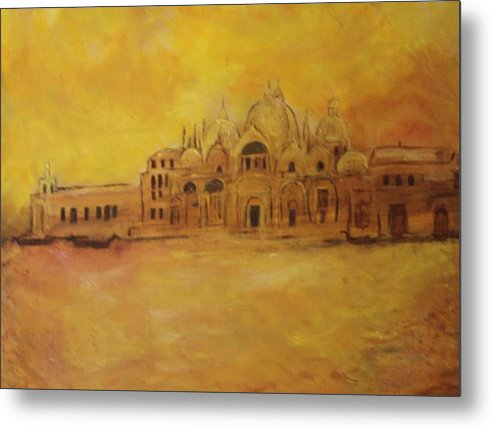 Architecture Metal Print featuring the painting Golden Venice by Michela Akers