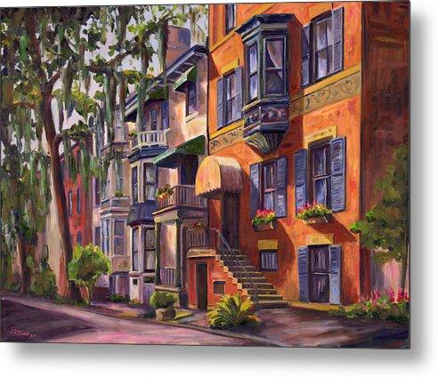 Savannah Metal Print featuring the painting Hull Street In Chippewa Square Savannah by Jeff Pittman