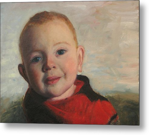 Portraits Metal Print featuring the painting Little boy in red by Chris Neil Smith