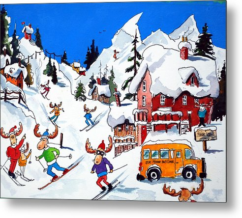 Whimsey Metal Print featuring the painting Moose Going Downhill by Wilfred McOstrich
