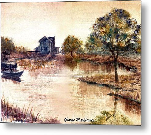 Water Landscape Metal Print featuring the print Old Time Mural by George Markiewicz