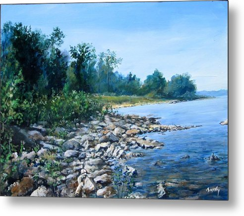 Seascape Metal Print featuring the painting Shoreline by William Brody
