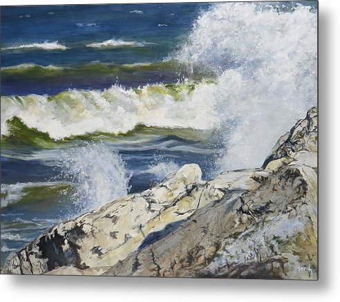 Water Metal Print featuring the painting The Break by William Brody