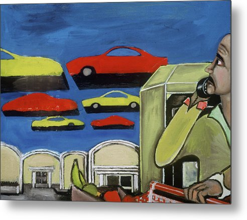Sobe Metal Print featuring the painting South Beach Miami Grocery Store Parking Lot Art Print by Tommervik
