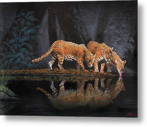 #leopards Metal Print featuring the painting A Cool Drink by Harold Shull
