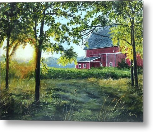 Barn Metal Print featuring the painting Farmer's sea by William Brody