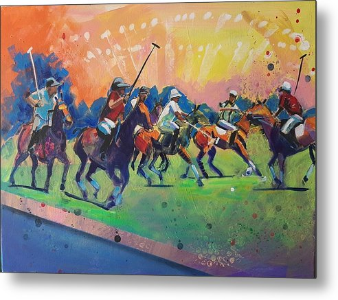 Polo Metal Print featuring the painting Polo Match by Kaytee Esser