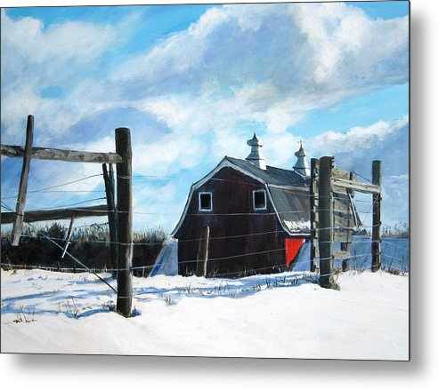 Barn Metal Print featuring the painting Red White And Blue by William Brody