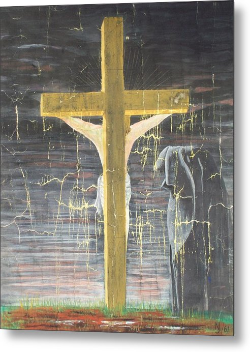 Cross Metal Print featuring the painting Approaching Death by Norman F Jackson