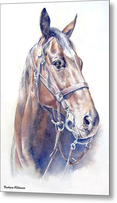 Horse Metal Print featuring the painting Regal A Cavalry Horse Portrait by Barbara Widmann