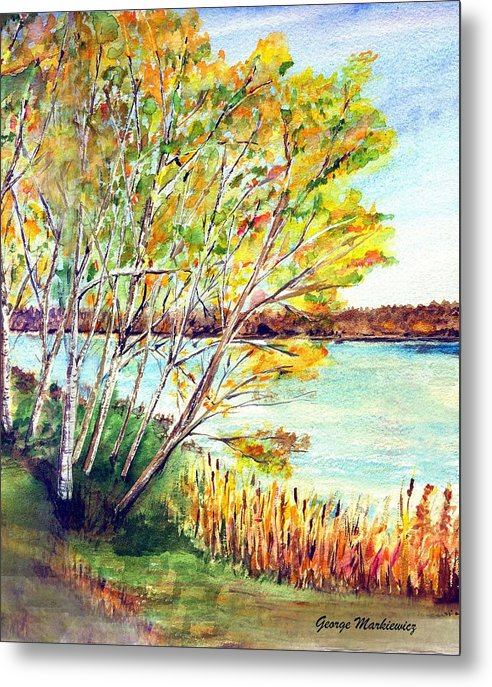 Lake And Trees Landscape Metal Print featuring the print Lake Geneva by George Markiewicz