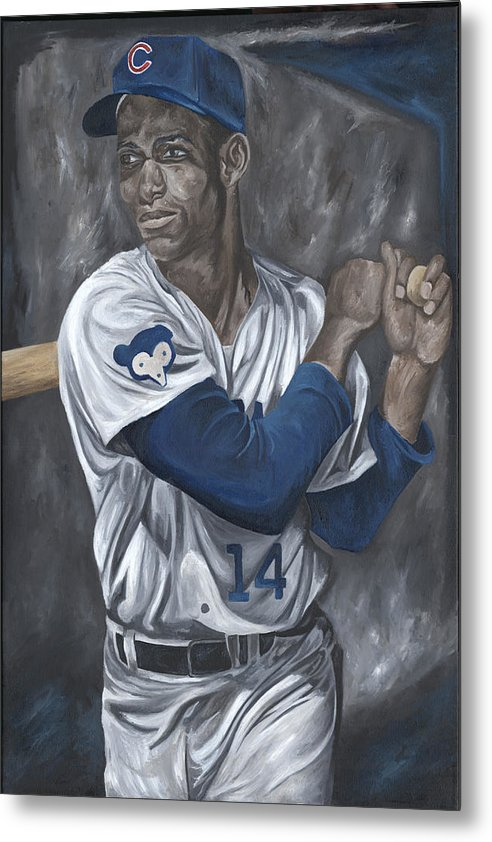 Chicago Cubs Ernie Banks Baseball Mlb Batter Batting David Courson Sports Art Painting Metal Print featuring the painting Ernie Banks by David Courson