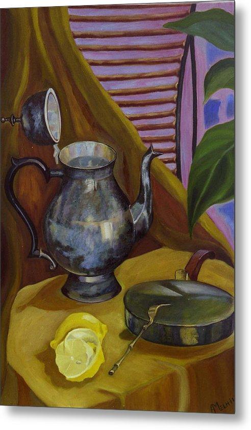 Still Life Metal Print featuring the painting Morning by Antoaneta Melnikova- Hillman