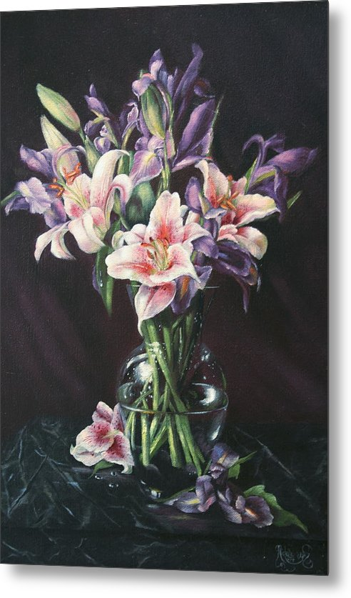 Floral Still Life Metal Print featuring the painting Laurette' Lillies by Michelle Kerr