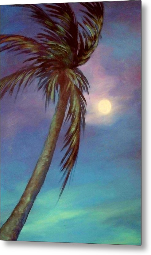 Palm Tree Metal Print featuring the painting Blue Night Palm by Joann Shular