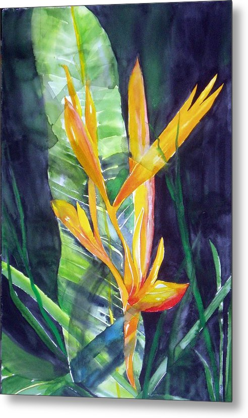 Tropical Plant Metal Print featuring the painting Golden Torch by Maritza Bermudez