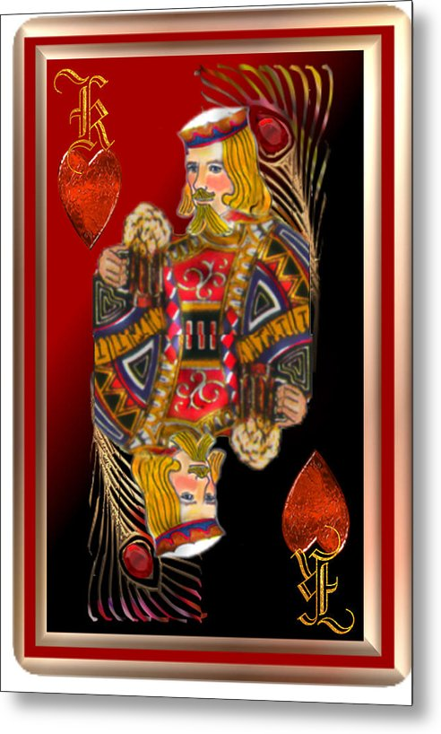 King Of Hearts From Playing Cards Decative Piece...red Black Gold  Feathers Hearts Metal Print featuring the pastel King Of Hearts by Pamela Mccabe