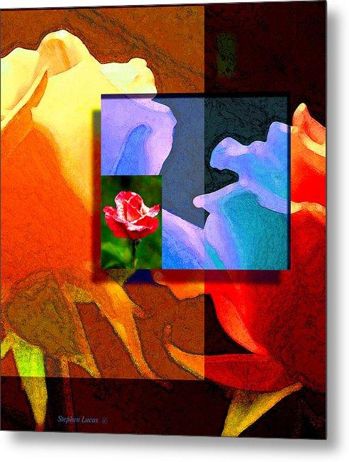 Modern Metal Print featuring the digital art Backlit Roses by Stephen Lucas