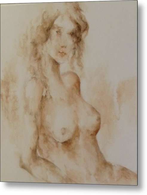 Nude Metal Print featuring the painting Misty Girl by Renee Shular