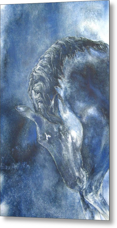 Horse Metal Print featuring the painting Blues by Barbara Widmann