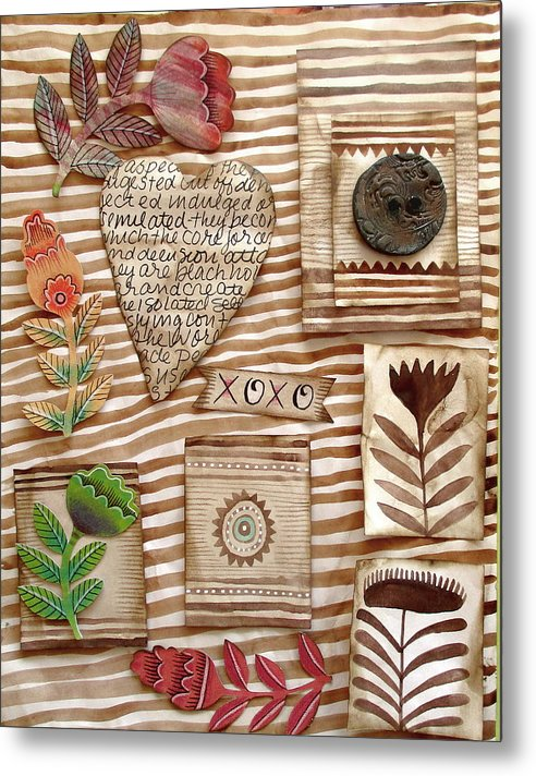 Heart Metal Print featuring the mixed media Xoxo by Elaine Jackson