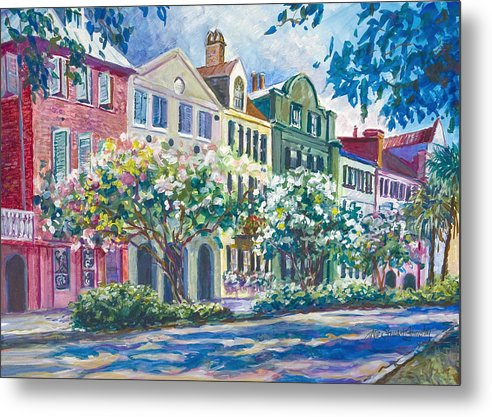 Charleston Metal Print featuring the painting Charleston's Rainbow Row by Alice Grimsley