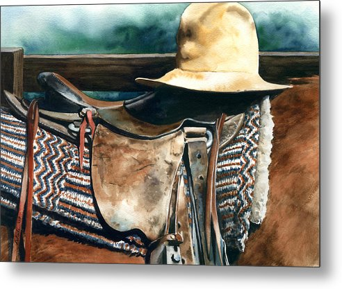 Saddle Metal Print featuring the painting Janessa's Hat by Nadi Spencer