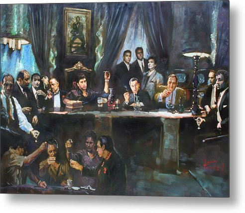 Gangsters Metal Print featuring the painting Fallen Last Supper Bad Guys by Ylli Haruni