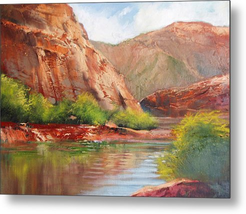 Landscape Metal Print featuring the painting Around The Bend by Robert Carver