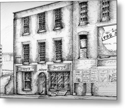 Dublin Streetscape Metal Print featuring the painting Duffys Antique Shop Parnell Street Dublin by Brendan Lynch
