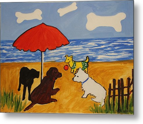 Beach Metal Print featuring the painting I Suppose She Wants To Play by Nancy Henkel Schulte