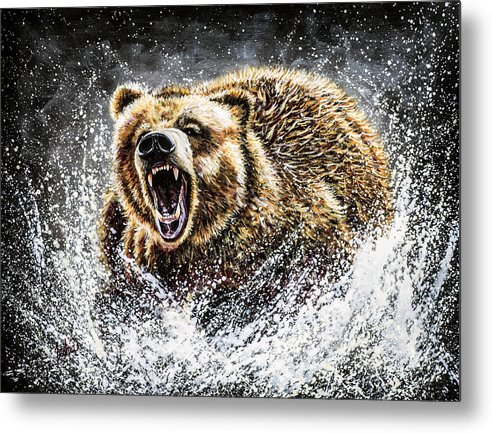 Grizzly Painting Metal Print featuring the painting Dominance by Teshia Art