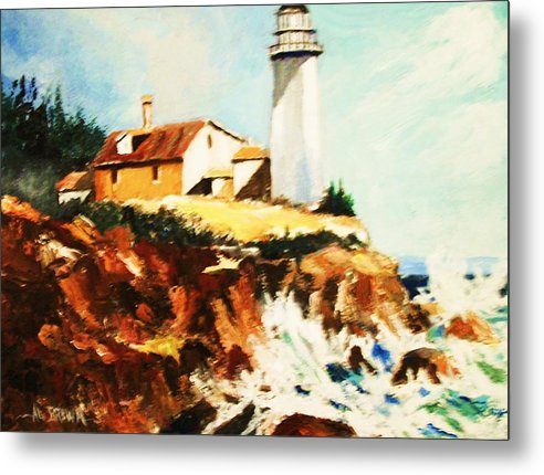 Light Houses Metal Print featuring the painting Morning Light by Al Brown