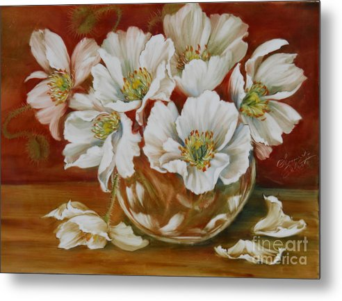Poppies Metal Print featuring the painting White Poppies by Summer Celeste