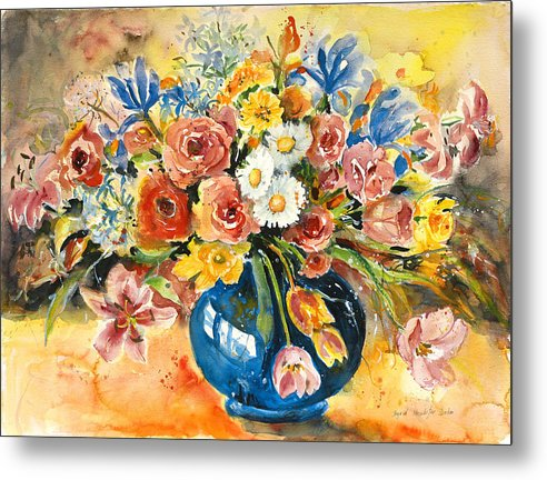 Still Life Metal Print featuring the painting Blue Vase by Ingrid Dohm