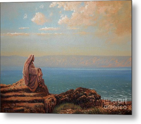 Jesus Metal Print featuring the painting Jesus By The Sea by Michael Nowak