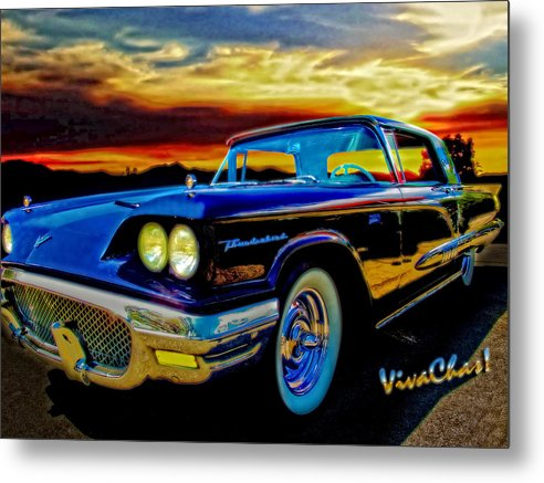 58 Metal Print featuring the photograph 58 T Bird In Black by Chas Sinklier