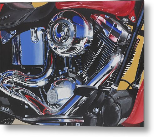 Harley Davidson Motorcycles Metal Print featuring the painting Reflections Of A Fat Boy by John Westerhold