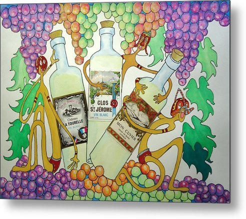 Grapes Metal Print featuring the painting Happy People With Wine by Glenn Calloway