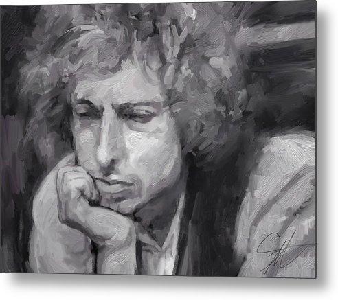 Bob Dylan Music Portrait Musician Rock Metal Print featuring the digital art Dylan by Scott Waters