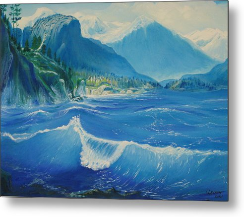 Water Metal Print featuring the painting Pacific Wave by Lara Leitch