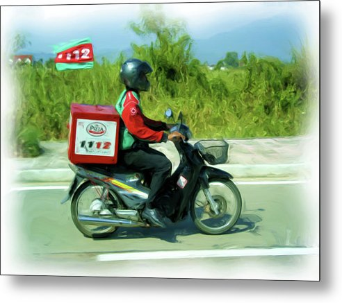 Thailand Metal Print featuring the painting Pizza Delivery by Bates Clark