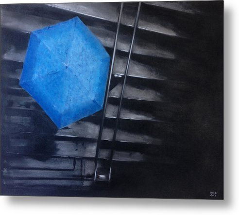 Ny Subway Metal Print featuring the pastel Subway Rain by Carrie Diaz