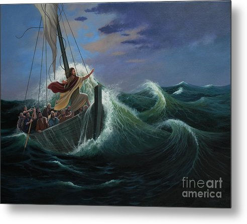 Bible Metal Print featuring the painting Peace Be Still by Michael Nowak