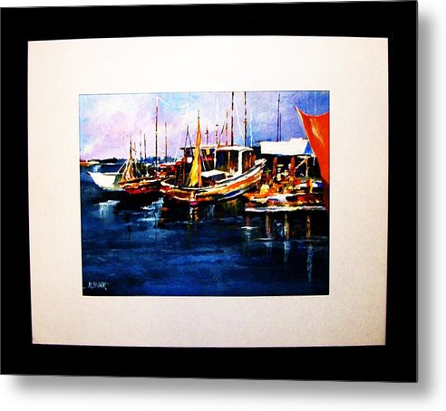 Wharf Metal Print featuring the painting Wharf Scene by Al Brown