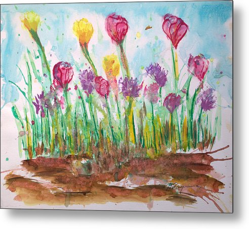 Flowers Metal Print featuring the painting Blooming Colors by J R Seymour