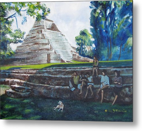Sunny Afternoon In The Shade Metal Print featuring the painting Myan Temple by Howard Stroman